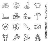 thin line icon set   bio  round ... | Shutterstock .eps vector #763642024