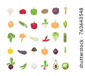 vegetables illustrations set.... | Shutterstock .eps vector #763643548