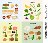 healthy food groups. protein... | Shutterstock .eps vector #763643644