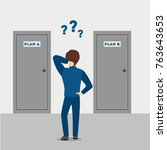 choosing the plan. confused man ... | Shutterstock .eps vector #763643653