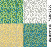 set of seamless patterns with... | Shutterstock .eps vector #763643920