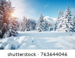 beautiful winter nature... | Shutterstock . vector #763644046