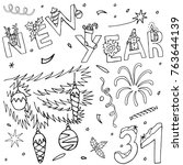 christmas and new year hand... | Shutterstock .eps vector #763644139