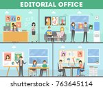 Editorial office interior. Director with designers and journalists. | Shutterstock vector #763645114