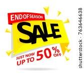sale banner discount yellow... | Shutterstock .eps vector #763646638