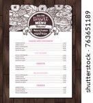 dessert vector menu with sketch ... | Shutterstock .eps vector #763651189