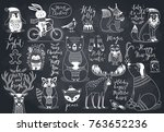 cute forest animals set  ... | Shutterstock .eps vector #763652236