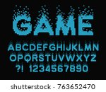 pixel retro font video computer ... | Shutterstock .eps vector #763652470