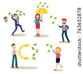 people with money attracting... | Shutterstock .eps vector #763652878