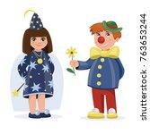 children dressed in carnival... | Shutterstock .eps vector #763653244