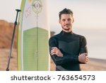 Portrait Of A Surfer With Sup...