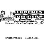lunches and dinners   retro ad... | Shutterstock .eps vector #76365601