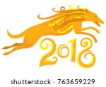 yellow dog  symbol of 2018 on... | Shutterstock .eps vector #763659229