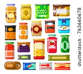 canned goods set. food... | Shutterstock .eps vector #763660678
