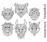 hand drawn totem masks | Shutterstock .eps vector #763660813