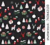 merry christmas cartoon funny...   Shutterstock . vector #763662133
