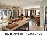 interior of a contemporary... | Shutterstock . vector #763663468