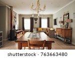 contemporary suburban home... | Shutterstock . vector #763663480