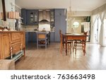 interior of a country style... | Shutterstock . vector #763663498