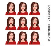 vector illustration of woman... | Shutterstock .eps vector #763665004