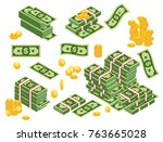 vector illustration of dollars... | Shutterstock .eps vector #763665028