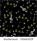 abstract music seamless pattern ... | Shutterstock .eps vector #763665529