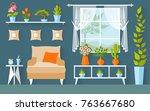 vector room with houseplants... | Shutterstock .eps vector #763667680
