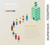 queue to the bank vector... | Shutterstock .eps vector #763669504