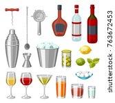 cocktail bar set. essential... | Shutterstock .eps vector #763672453