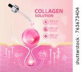 collagen serum skin care... | Shutterstock .eps vector #763673404