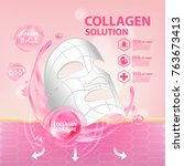 collagen serum skin care... | Shutterstock .eps vector #763673413