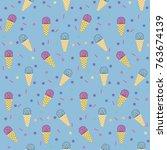 ice cream blue pattern | Shutterstock .eps vector #763674139