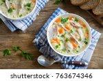 split pea soup with smoked ham... | Shutterstock . vector #763674346