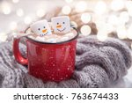 Red Mug With Hot Chocolate With ...
