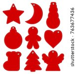 red hangtags christmas or new... | Shutterstock .eps vector #763677436