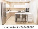 kitchen interior in luxurious... | Shutterstock . vector #763678306