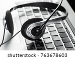 call center support concept.... | Shutterstock . vector #763678603
