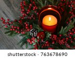 festive holiday christmas... | Shutterstock . vector #763678690