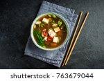 japanese miso soup in ceramic... | Shutterstock . vector #763679044