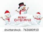 merry christmas with snowman... | Shutterstock .eps vector #763680910