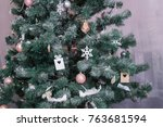 christmas tree with gifts | Shutterstock . vector #763681594