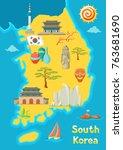 south korea map design. korean... | Shutterstock .eps vector #763681690