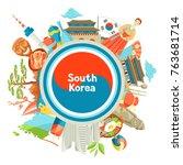 south korea background design....   Shutterstock .eps vector #763681714