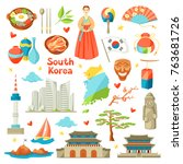south korea icons set. korean... | Shutterstock .eps vector #763681726