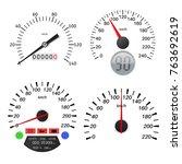 speedometer scales. vector... | Shutterstock .eps vector #763692619