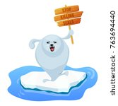 angry baby harp seal pup on ice ... | Shutterstock .eps vector #763694440