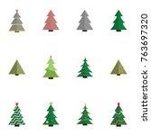 christmas tree vector... | Shutterstock .eps vector #763697320
