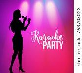 karaoke party poster  banner... | Shutterstock .eps vector #763703023