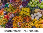 fresh fruit at the antigua... | Shutterstock . vector #763706686