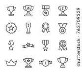 set of premium award icons in... | Shutterstock .eps vector #763709329